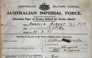 1915: Borella enlists in World War I