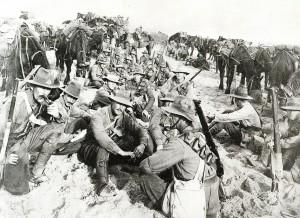 Australian Light Horse members at rest