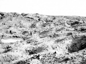 View of the great crater at Hill 60, the result of the mine detonated by the 1st Australian Tunnelling Company on 7 June 1917 at the opening of the Battle of Messines. (Australian Army)