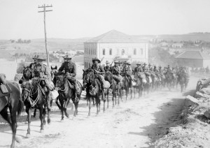 Australian soldiers riding
