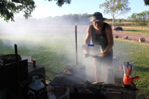 Bill Anderson busy cooking a meal for The Borella Ride team.