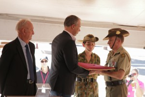 Chief Minister Adam Giles received the Victoria Cross at the beginning of the ceremony.