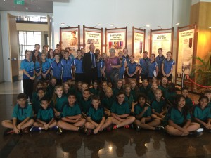 Rowan and Mary Borella with students from Woodroffe Primary School, Palmerston Senior College, Roseberry Primary and the winners of the Anzac Spirit Study Awards.
