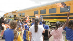 Pine Creek farewells The Borella Ride on its final leg to Darwin by train.